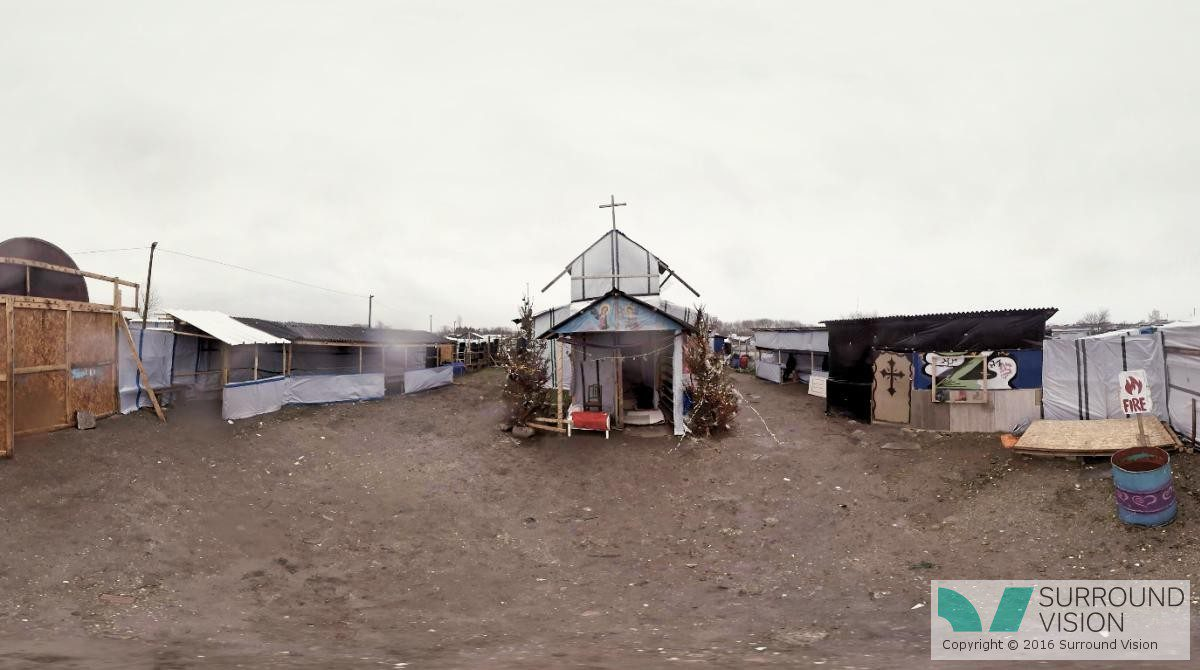 """Makeshift church set amoungst the squalor of """"The Jungle"""" in Calais France, from the Surround Vision VR 360 degree production with SKY of """"Home: Aamir"""""""