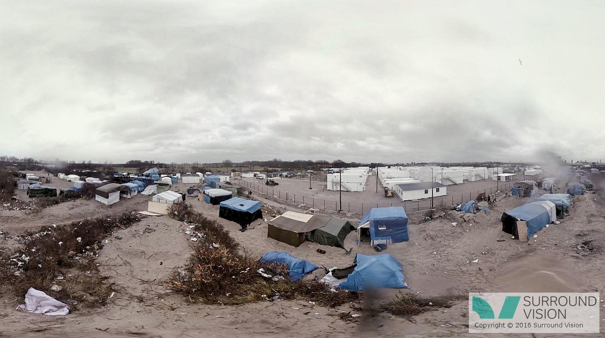 """Arial shot of of """"The Jungle"""" in Calais France, tent shanty town, a bleak scene, from the Surround Vision VR 360 degree production """"Home: Aamir"""""""