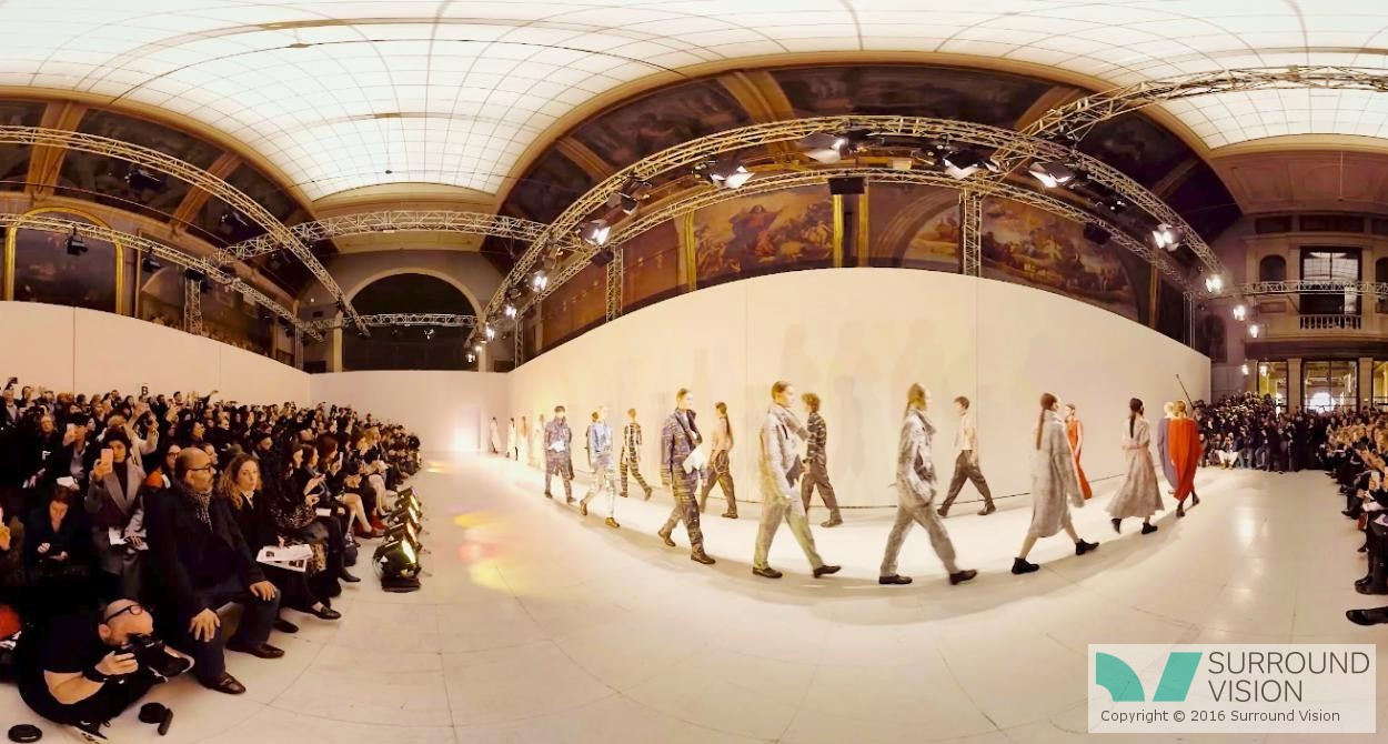 The crowds and media watch on. at Chalayan Paris Fashion week, Swarovski wanted to bring fashion fans a VIP VR experience during Hussein Chalayan's Paris runway show, Surround Vision delivered this VR experience using Facebook 360º, Google Cardboard, VR, Samsung Gear VR
