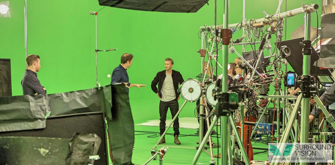 Surround Visions Richard Nockles with David Beckham, shooting Sky VR / 360 degree content
